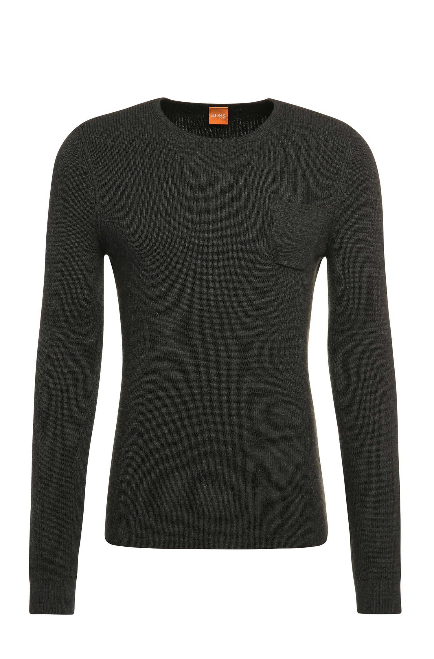 Slim-fit sweater in cotton blend with new wool and alpaca: 'Kutask'