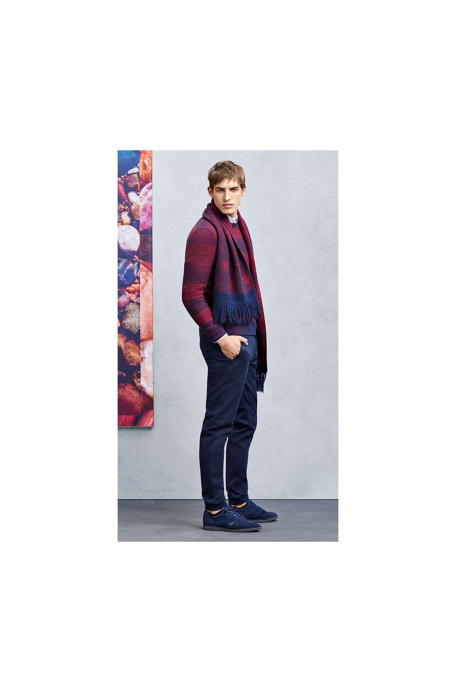 Écharpe à motif en coton mélangé à teneur en laine vierge: «Kayst»
