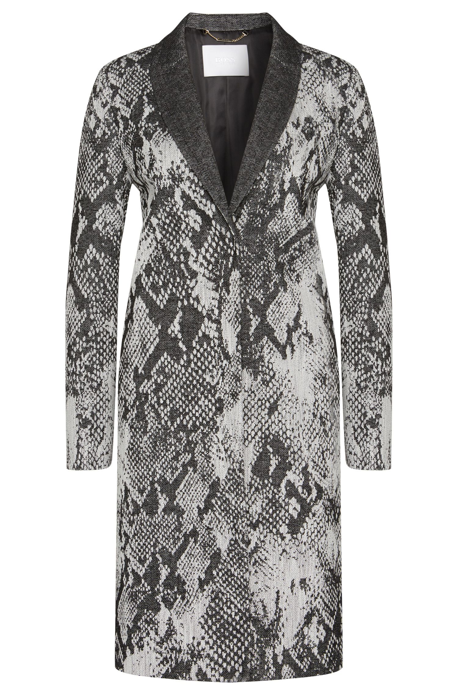 Cotton blend coat with reptile pattern: 'Cemana1'