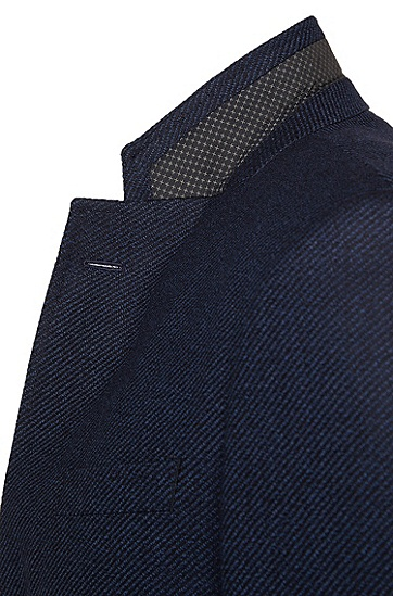 Slim-Fit Sakko aus strukturierter Schurwolle: 'Hutsons2', Dunkelblau