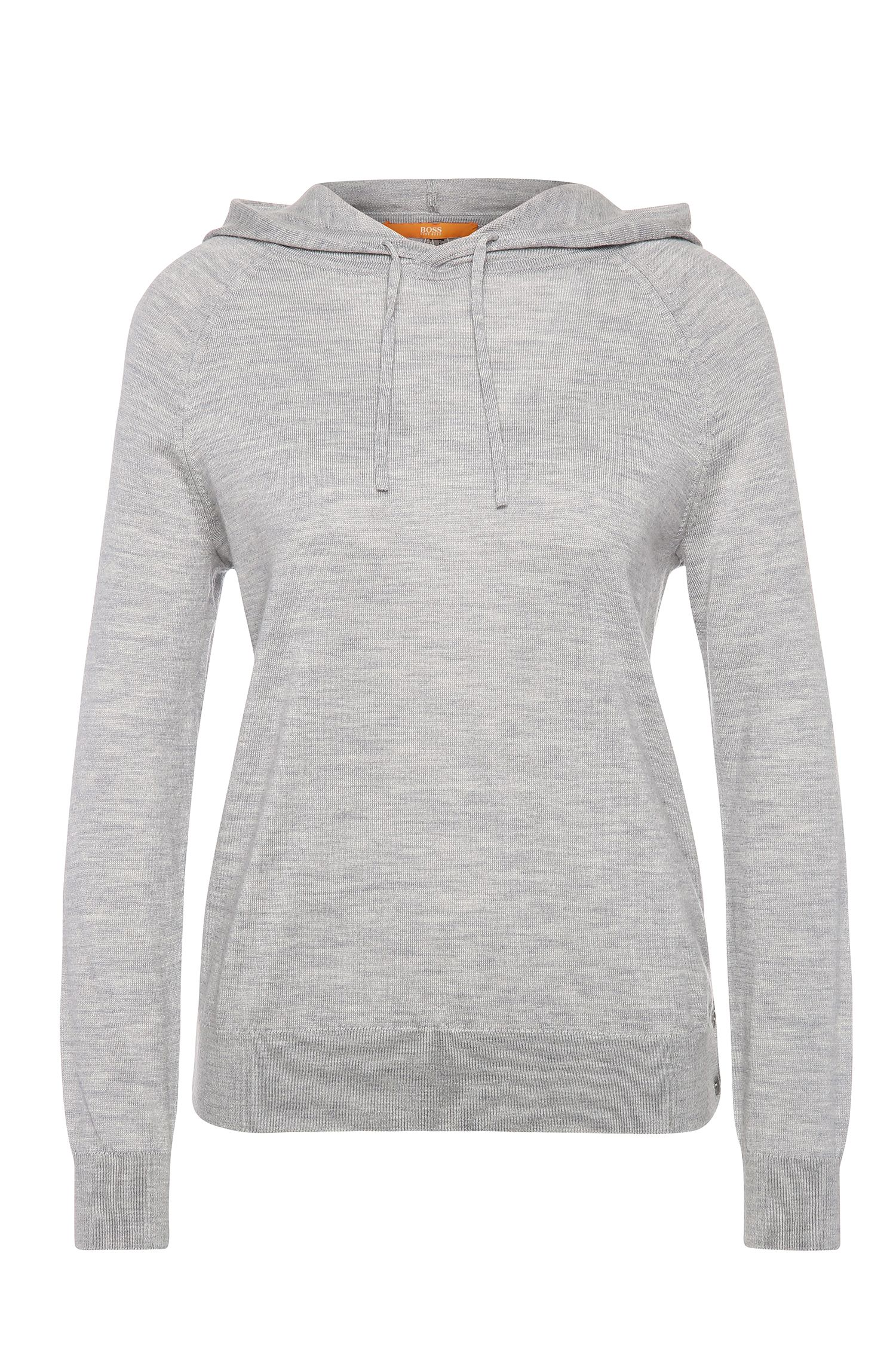 Knitted hoodie in pure new wool: 'Ihoody'