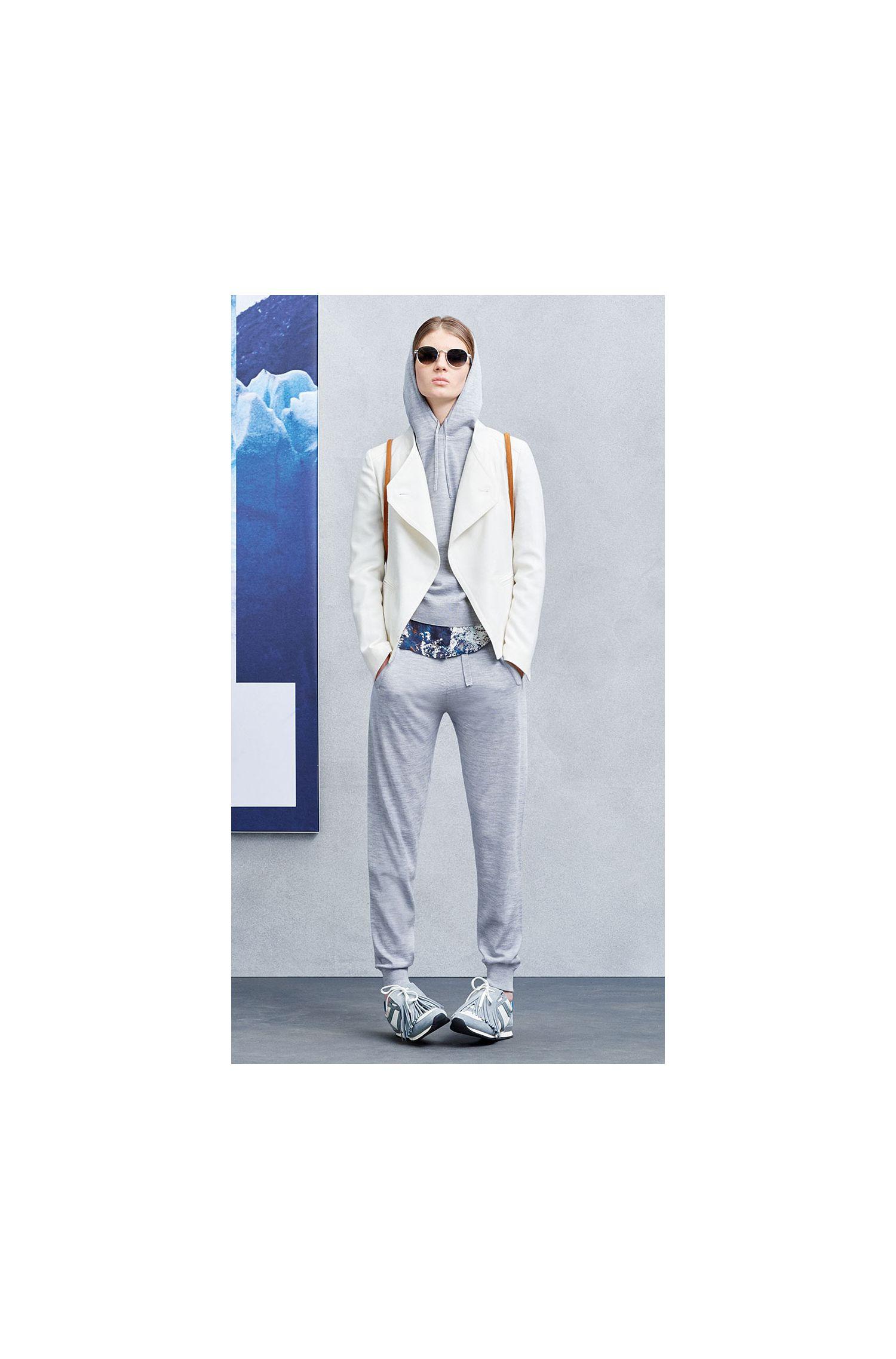Pantalon en maille de pure laine vierge, de style pantalon de jogging: «Ipants»
