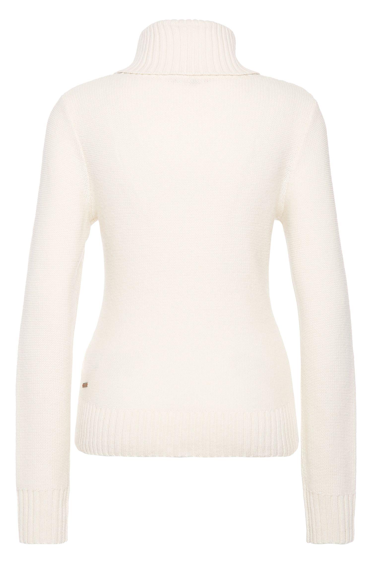 Gebreide trui van scheerwol, met col en vlechtmotief: 'Imojil'
