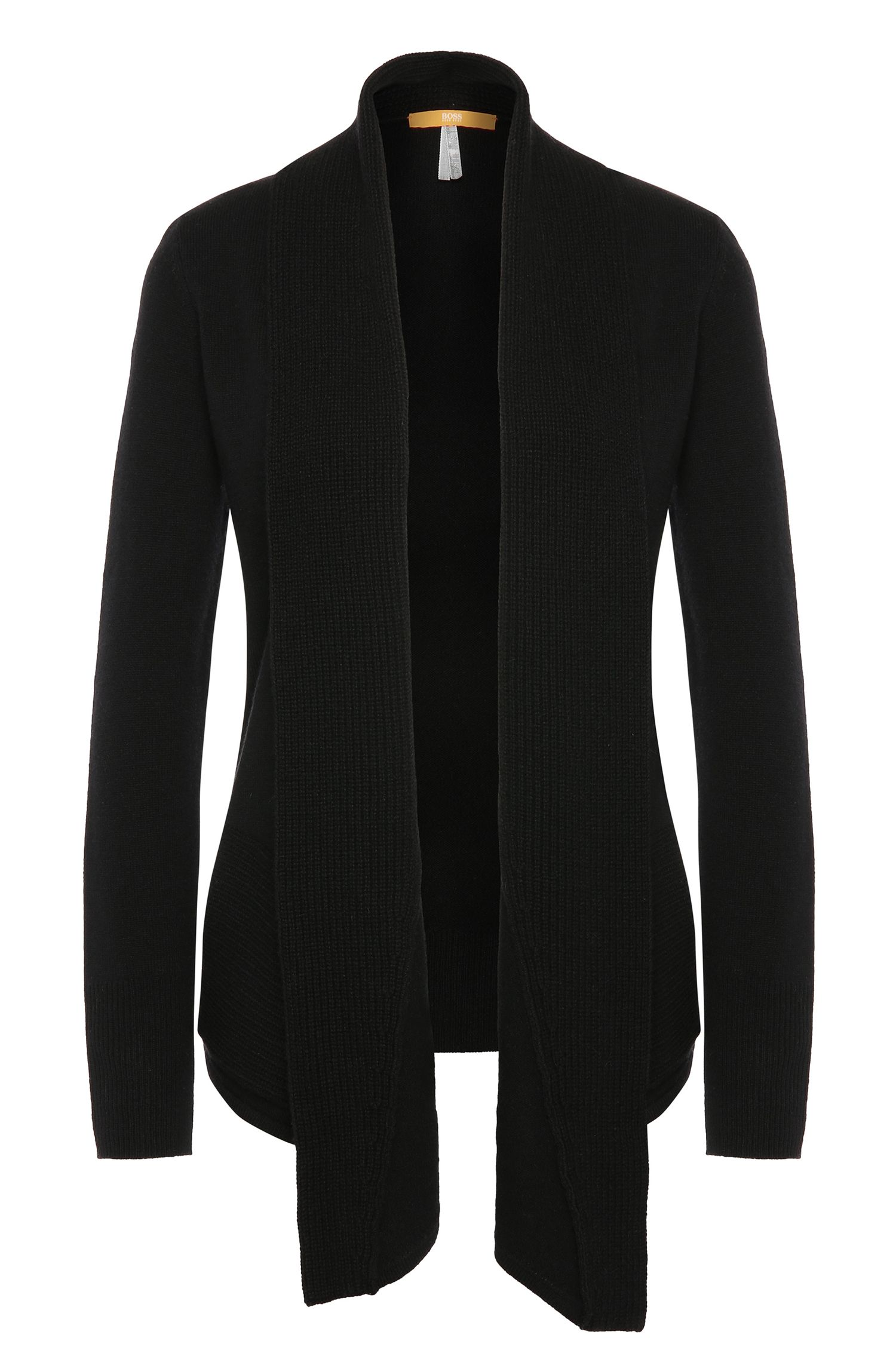 Knitted cardigan in new wool with a long shawl collar: 'Iwanha'