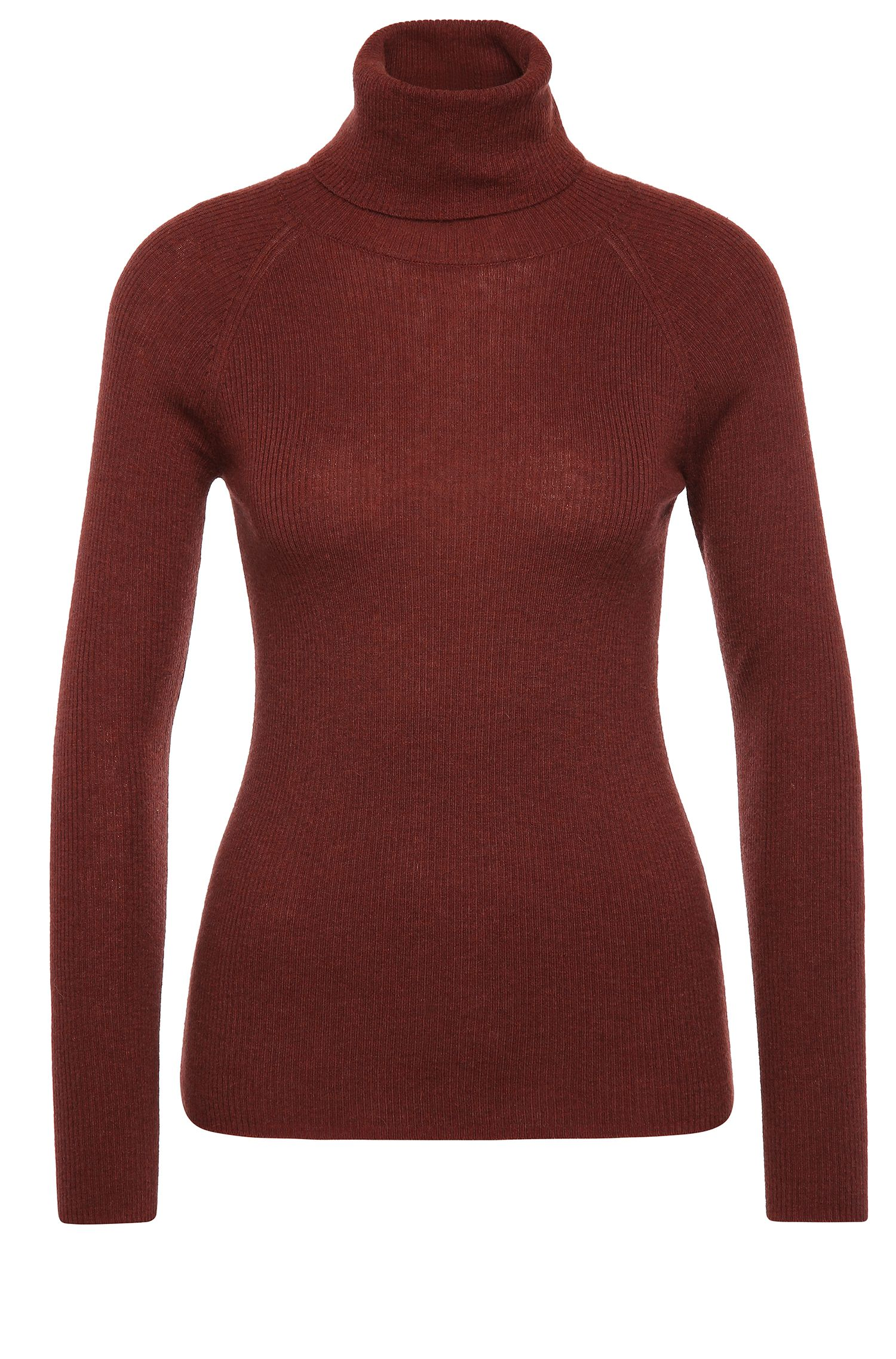 Polo neck sweater in material blend with new wool and alpaca: 'Weria'