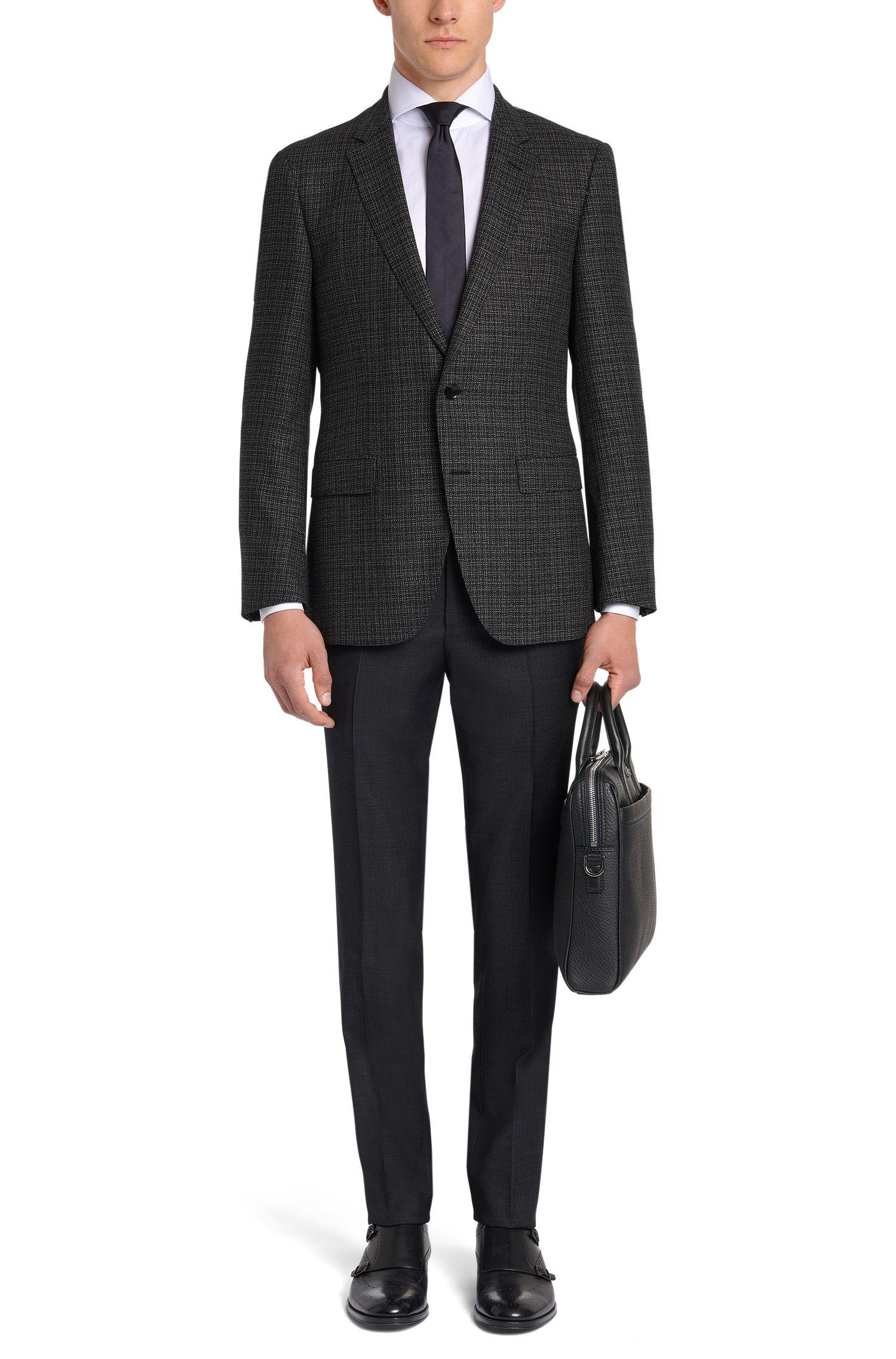 Veste de costume Slim Fit Tailored en pure laine vierge, à la structure raffinée: «T-Heel1»