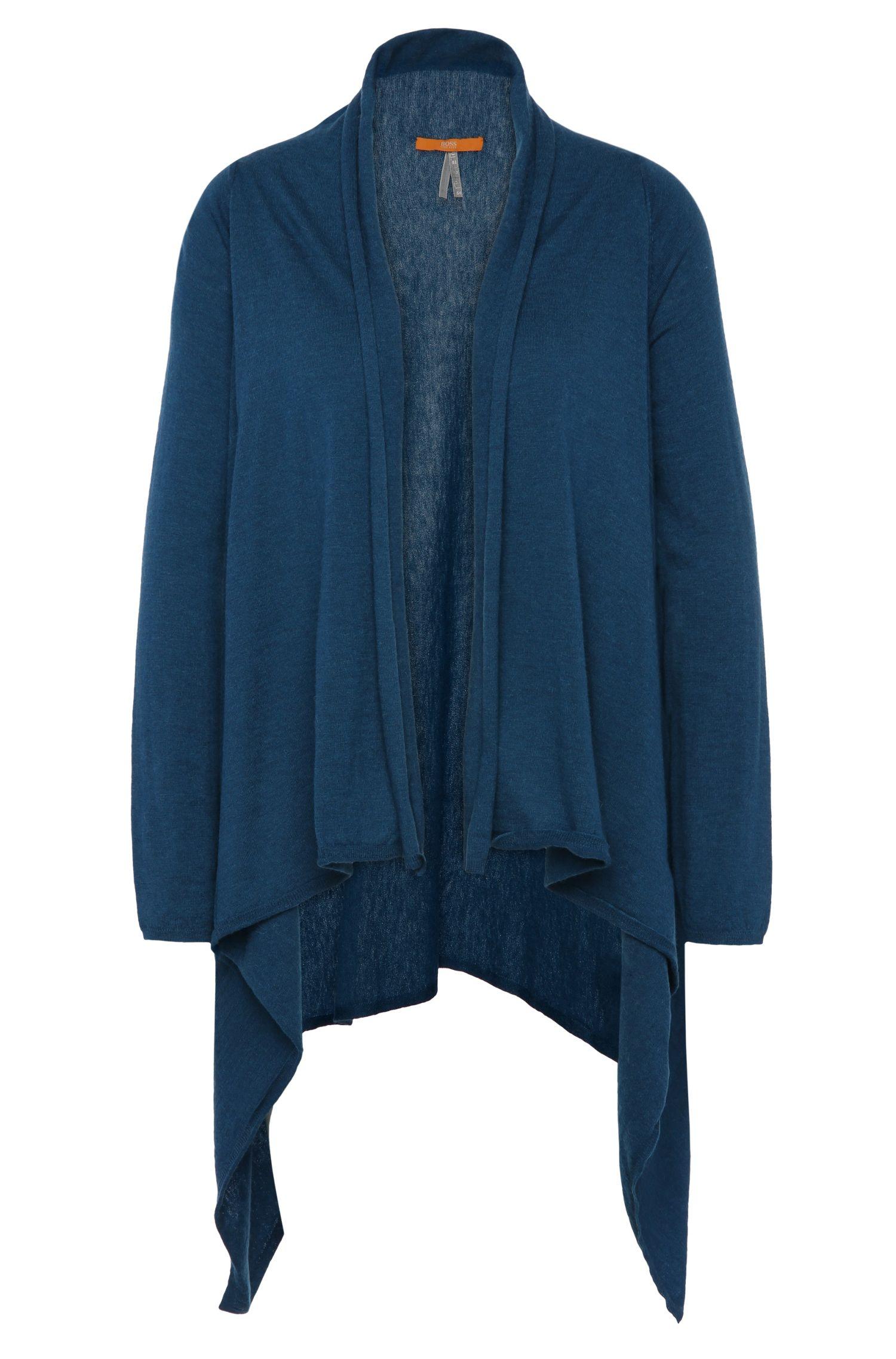 Open gebreid vest van een materiaalmix met scheerwol en alpaca: 'Wittiana'