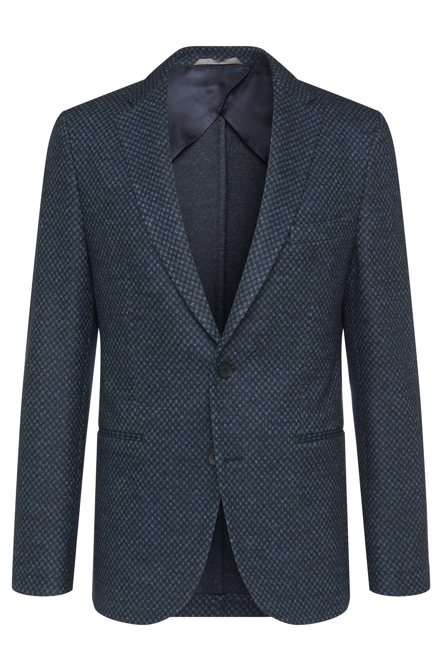 Veste de costume Slim Fit à motif en laine vierge mélangée à teneur en coton: «Norwin1»