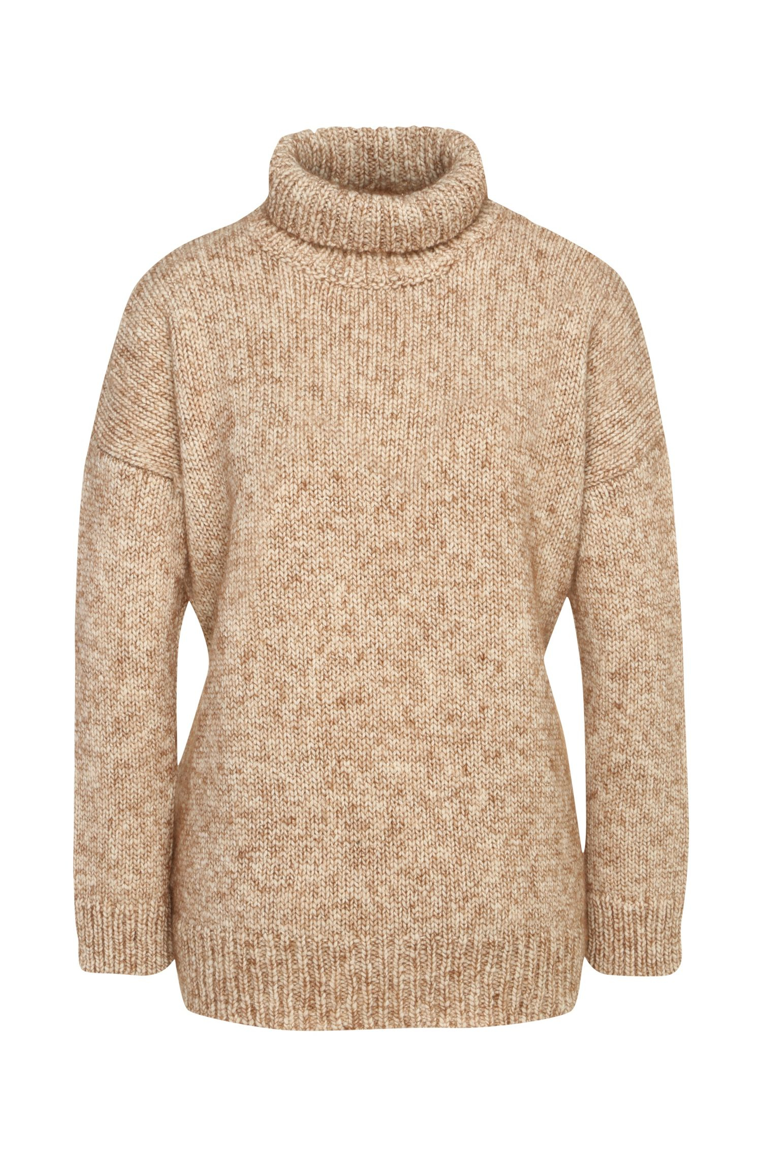 Knit sweater in wool blend with alpaca: 'Wenella'