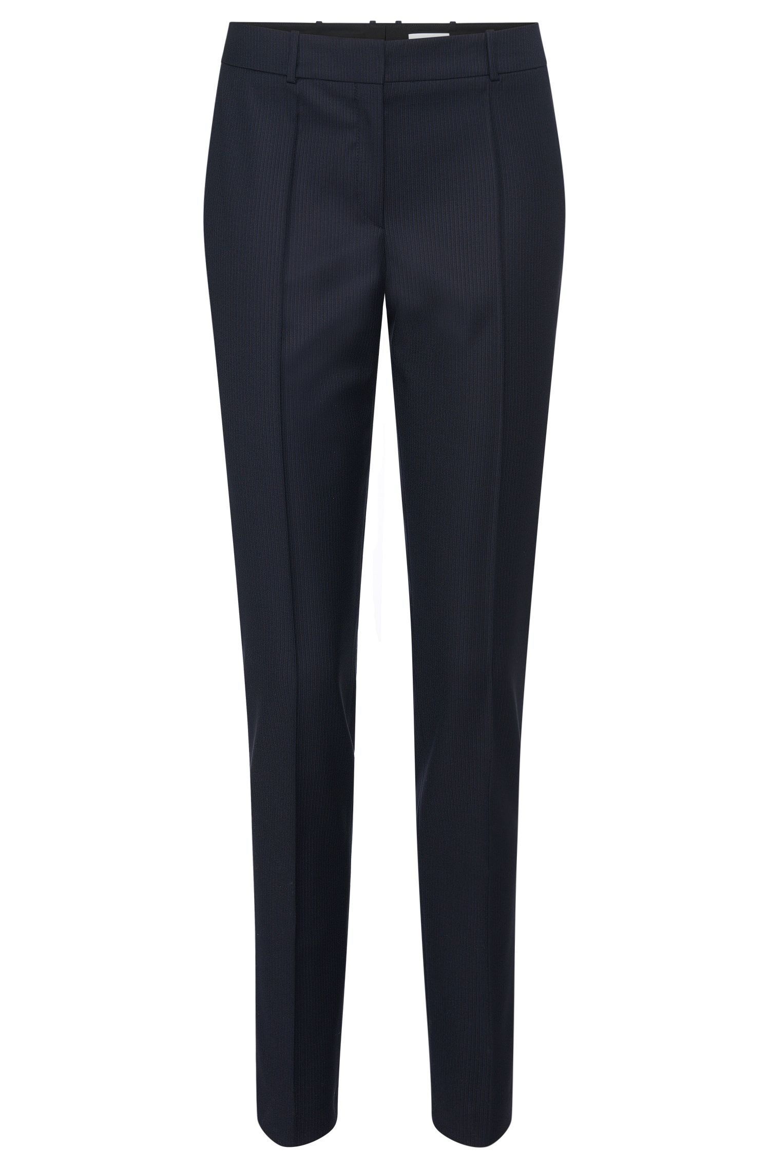 Finely striped slim-fit trousers in new wool: 'Tilunil1'