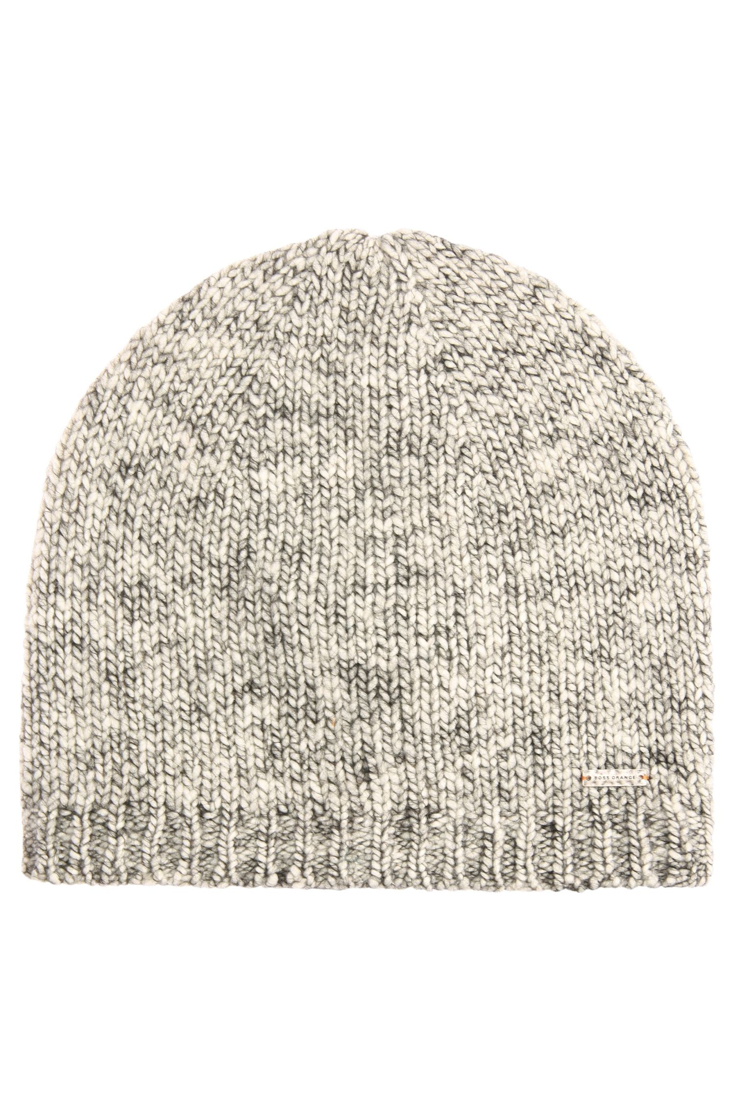 Mottled knit cap in wool blend with alpaca: 'Islisca'
