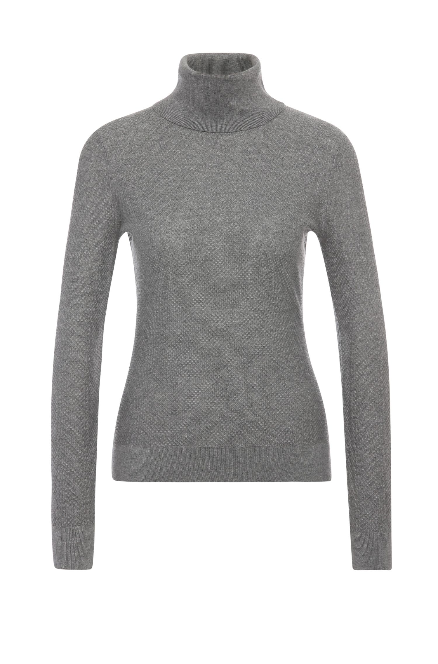 Slim-fit polo neck sweater in cotton blend with viscose and silk: 'Iddy'