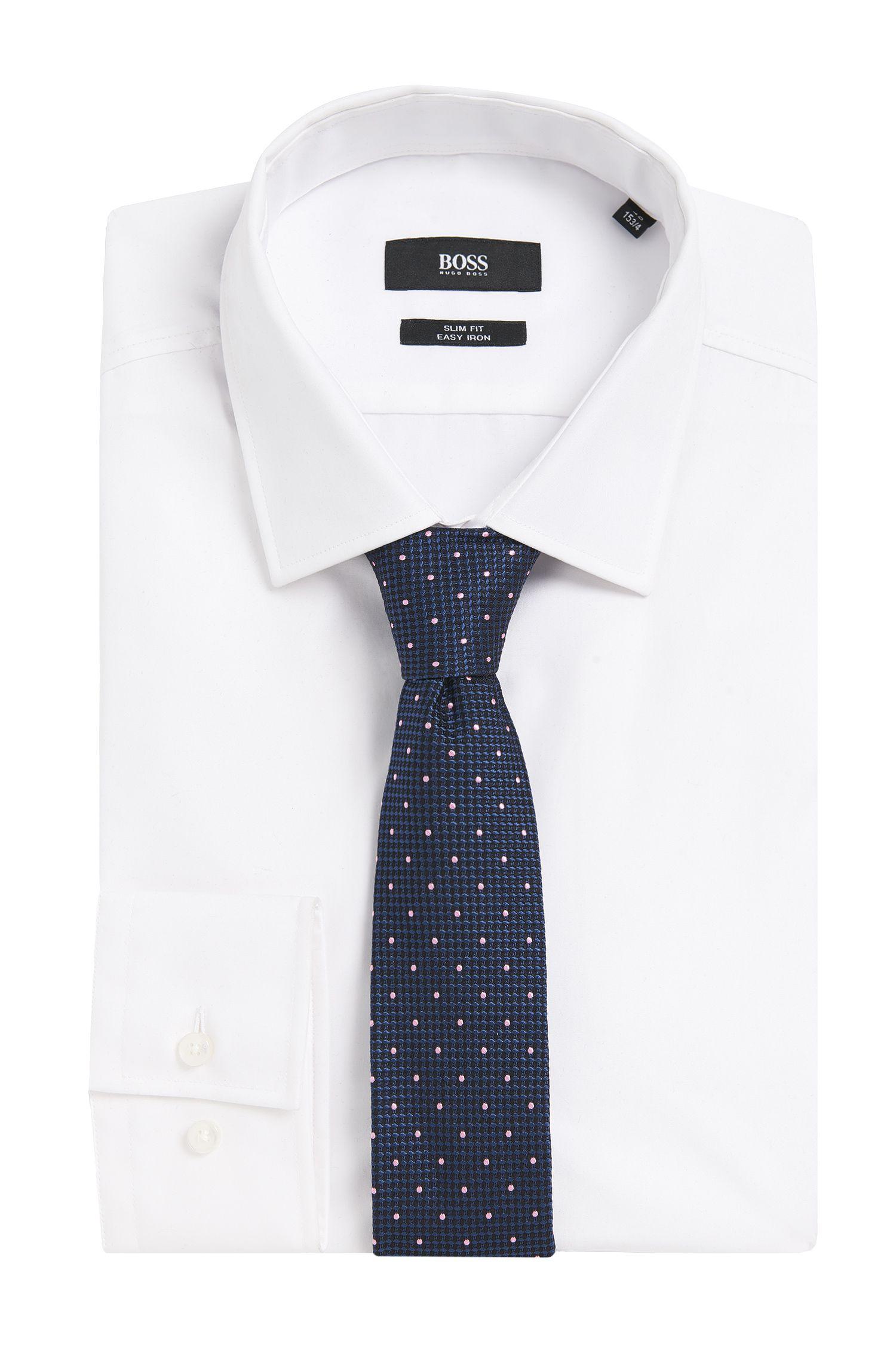 Gestructureerde zijden stropdas met stippendessin: 'Tie 6 cm'