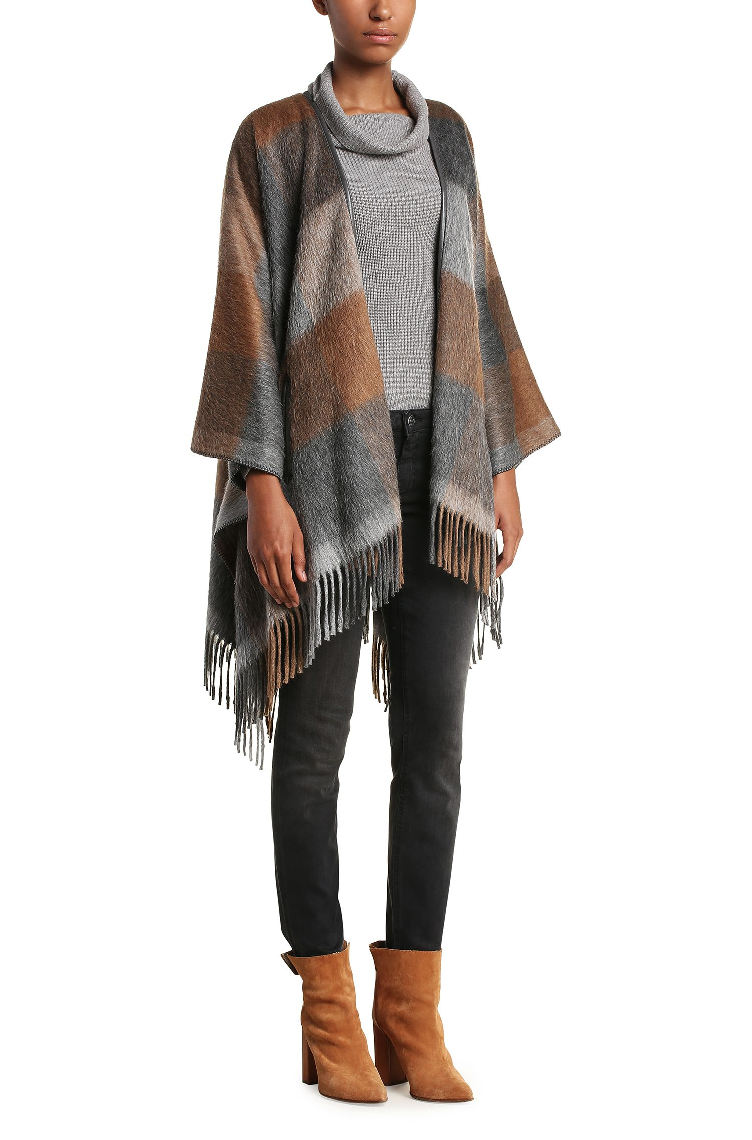 Blanket-Poncho aus Material-Mix mit Fransen: ´Ofringy`