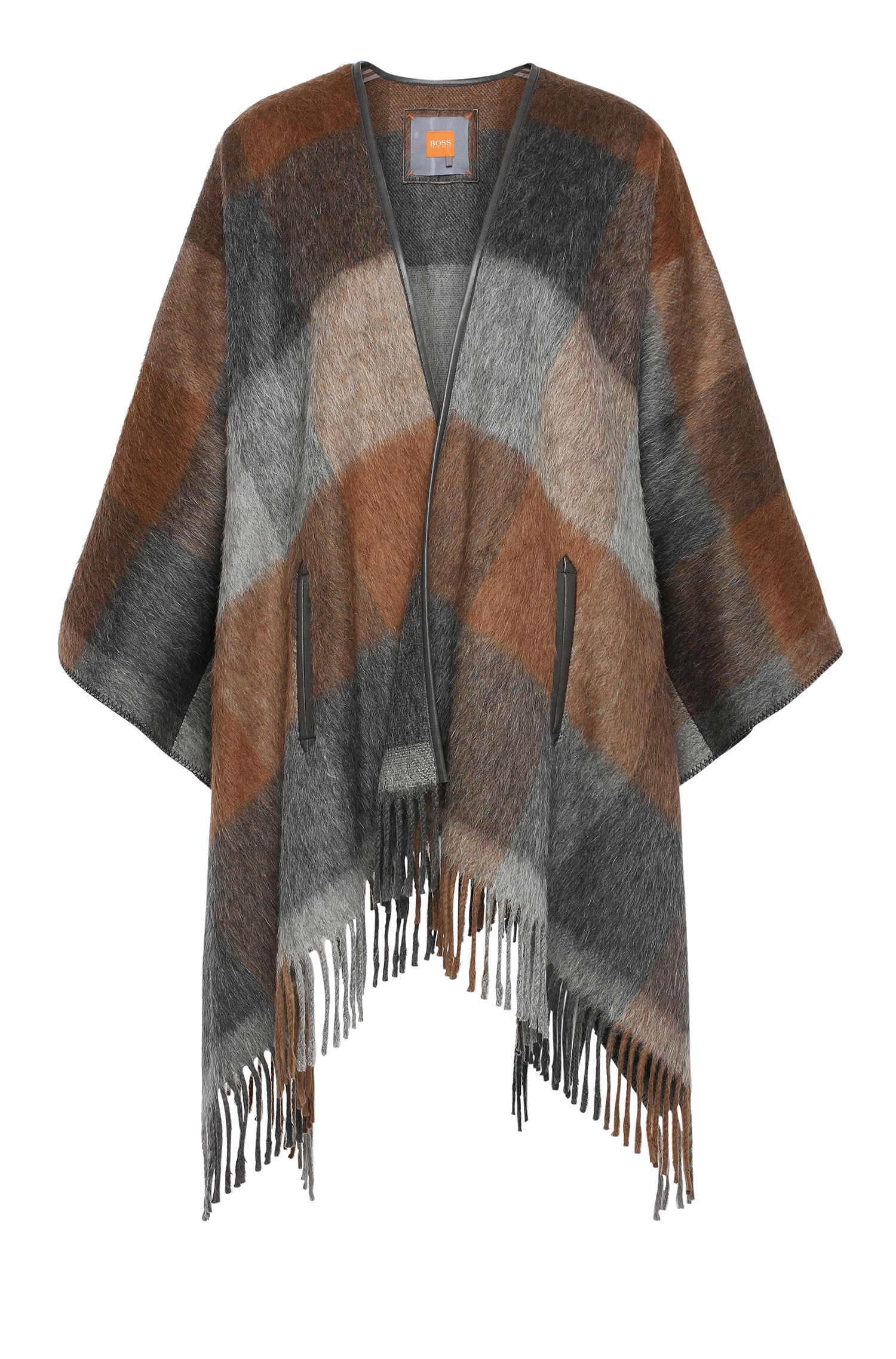 Blanket poncho in fabric blend with fringes: 'Ofringy'