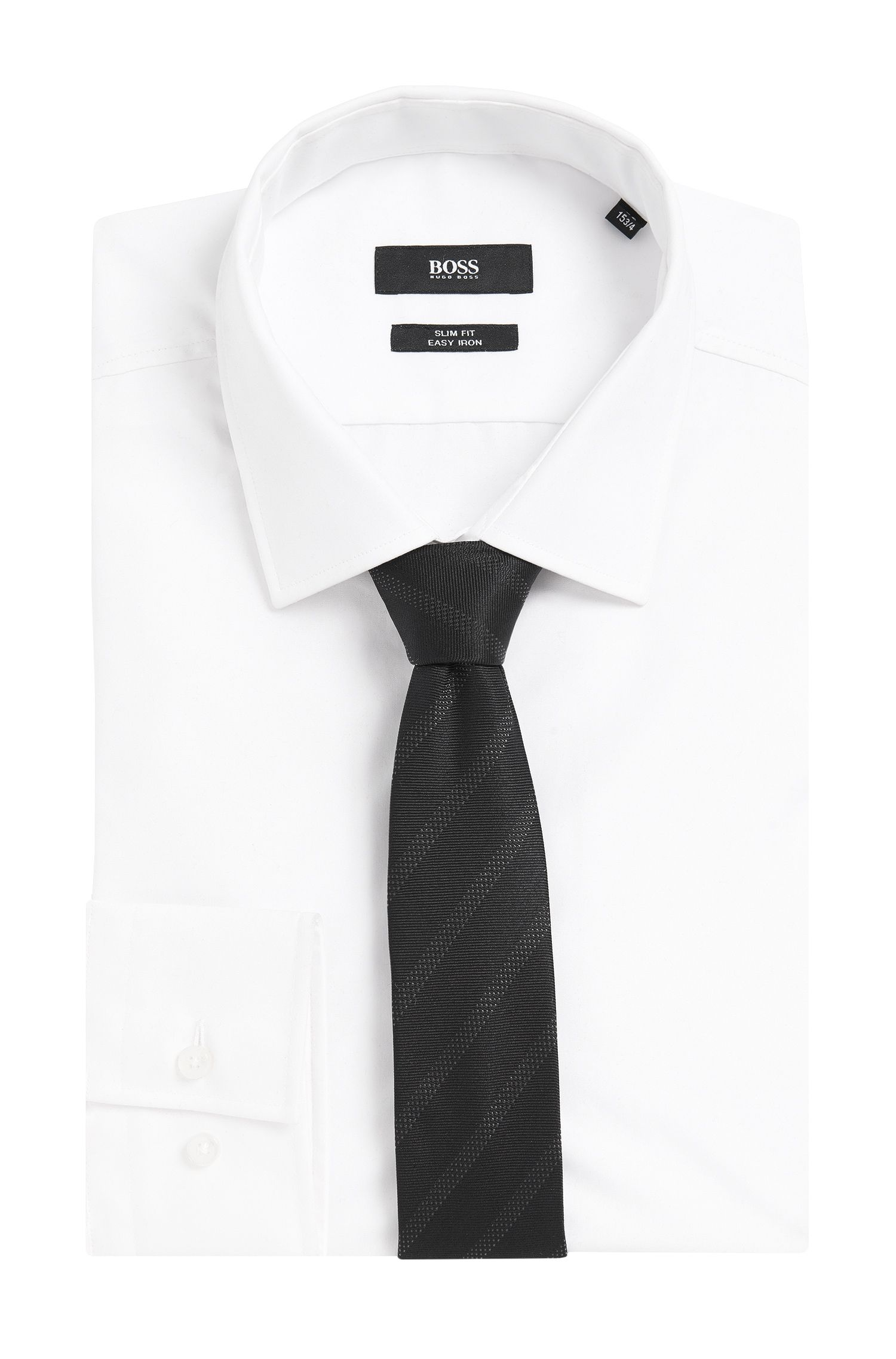 Subtiel gestreepte stropdas van een zijdemix: 'Tie 6 cm'