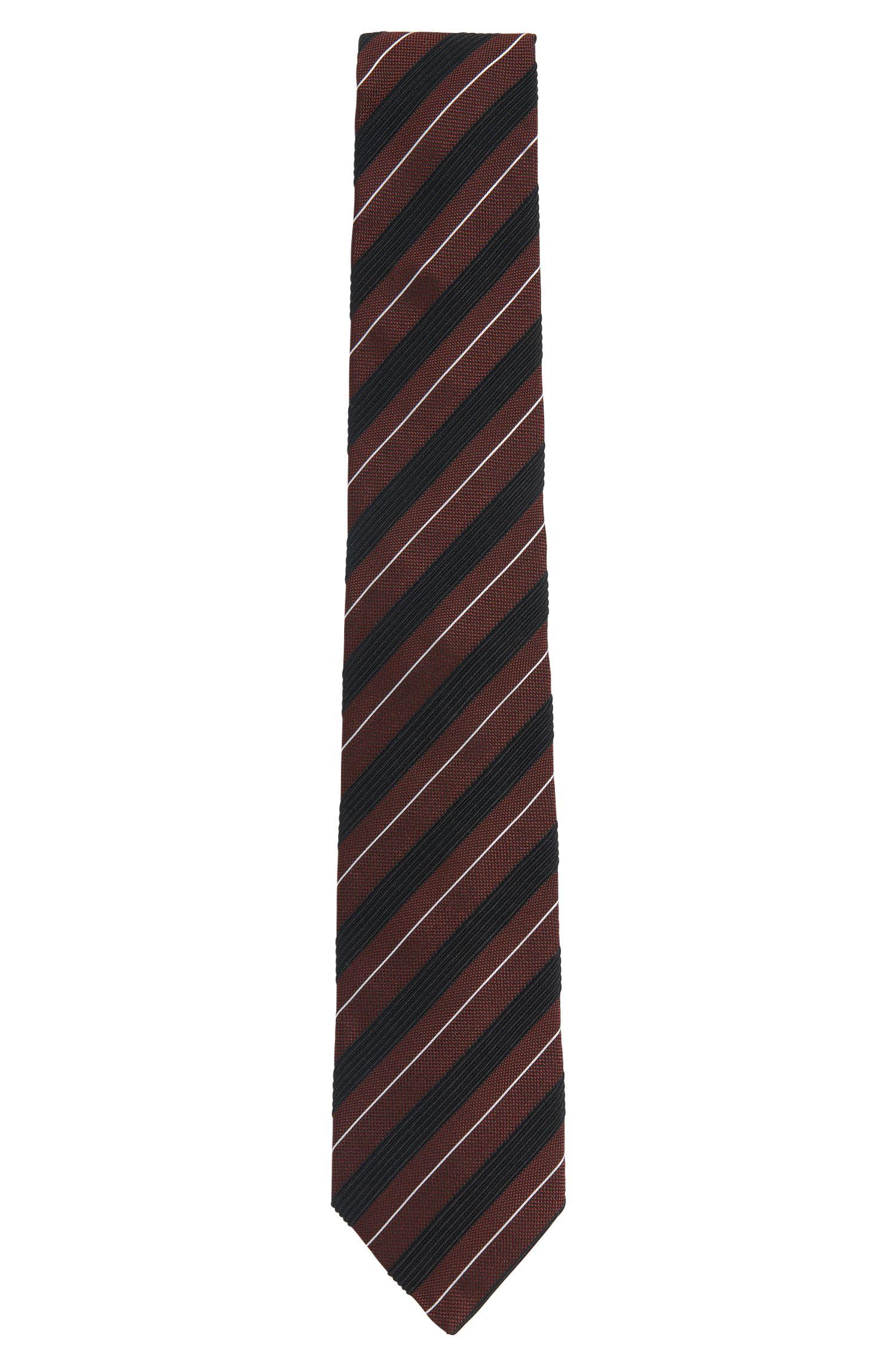 Gestreepte stropdas van een zijdemix: 'Tie 7,5 cm'