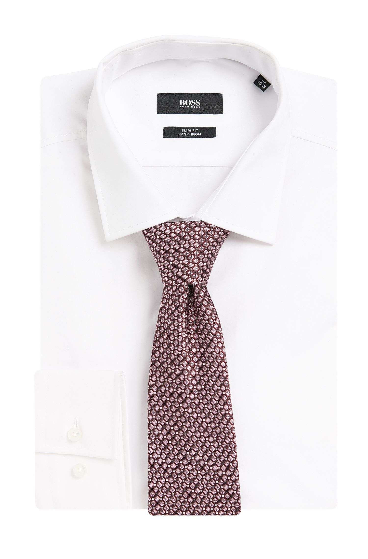 Stropdas van zijde met ruitdessin: 'Tie 7,5 cm'