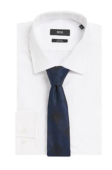 Krawatte aus reiner Seide mit Karo-Muster: 'Tie 6 cm', Dunkelblau