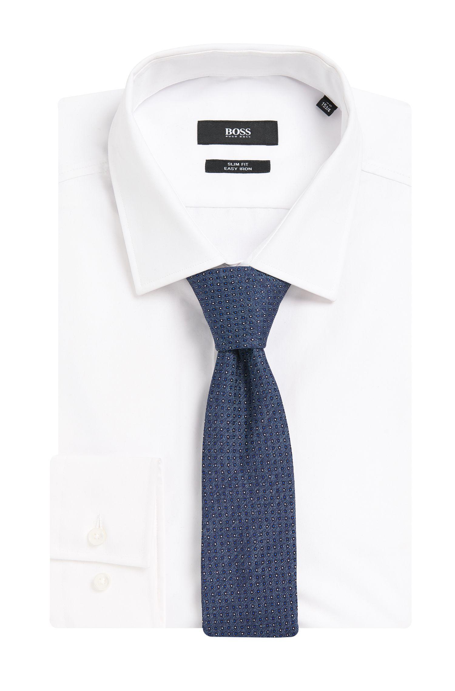 Gemusterte Krawatte aus Seide in Denim-Optik: 'Tie 6 cm'