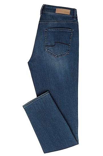 Regular-Fit Jeans aus Baumwoll-Mix mit Used-Waschung: 'Nelin', Blau