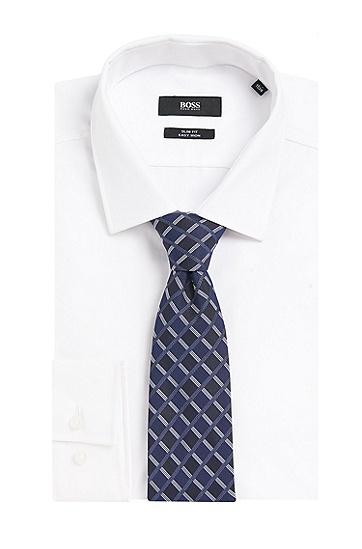 Gemusterte Krawatte aus reiner Seide: 'Tie 7,5 cm', Dunkelblau