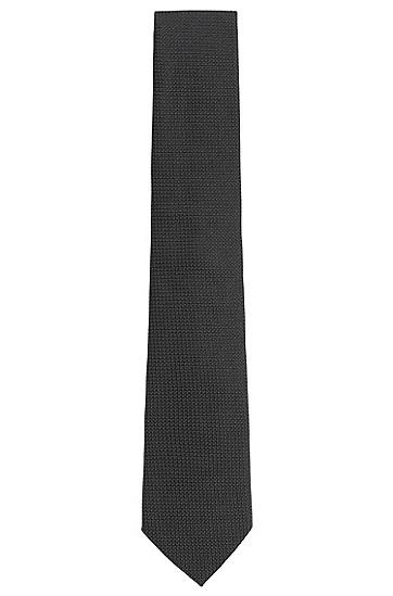 Strukturierte Krawatte aus reiner Seide: 'Tie 7,5 cm', Schwarz