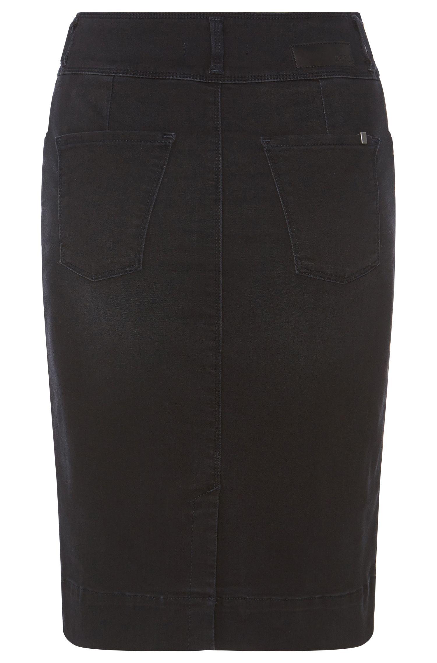 Jupe en jean longueur genoux, en coton mélangé extensible: «Nelana»