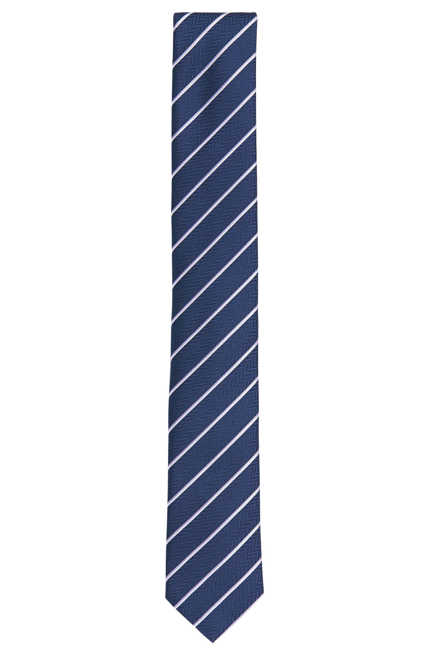 Corbata de rayas en seda con textura: 'Tie cm 6'
