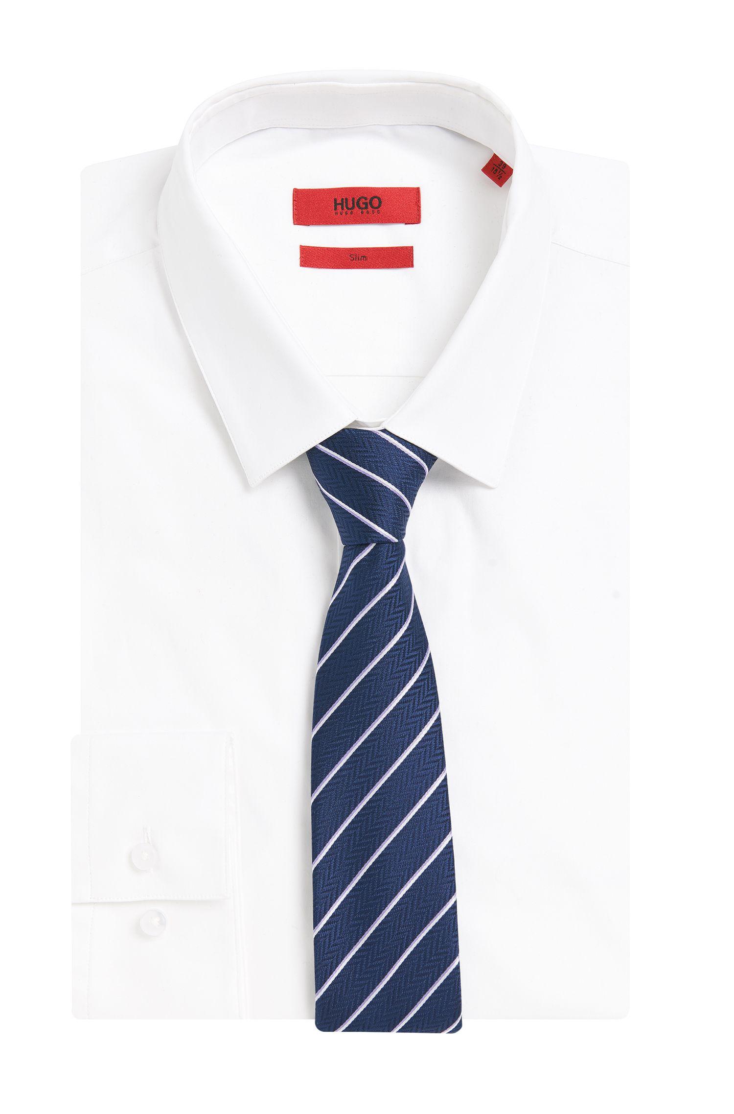 Gestreifte Krawatte aus strukturierter Seide: 'Tie cm 6'