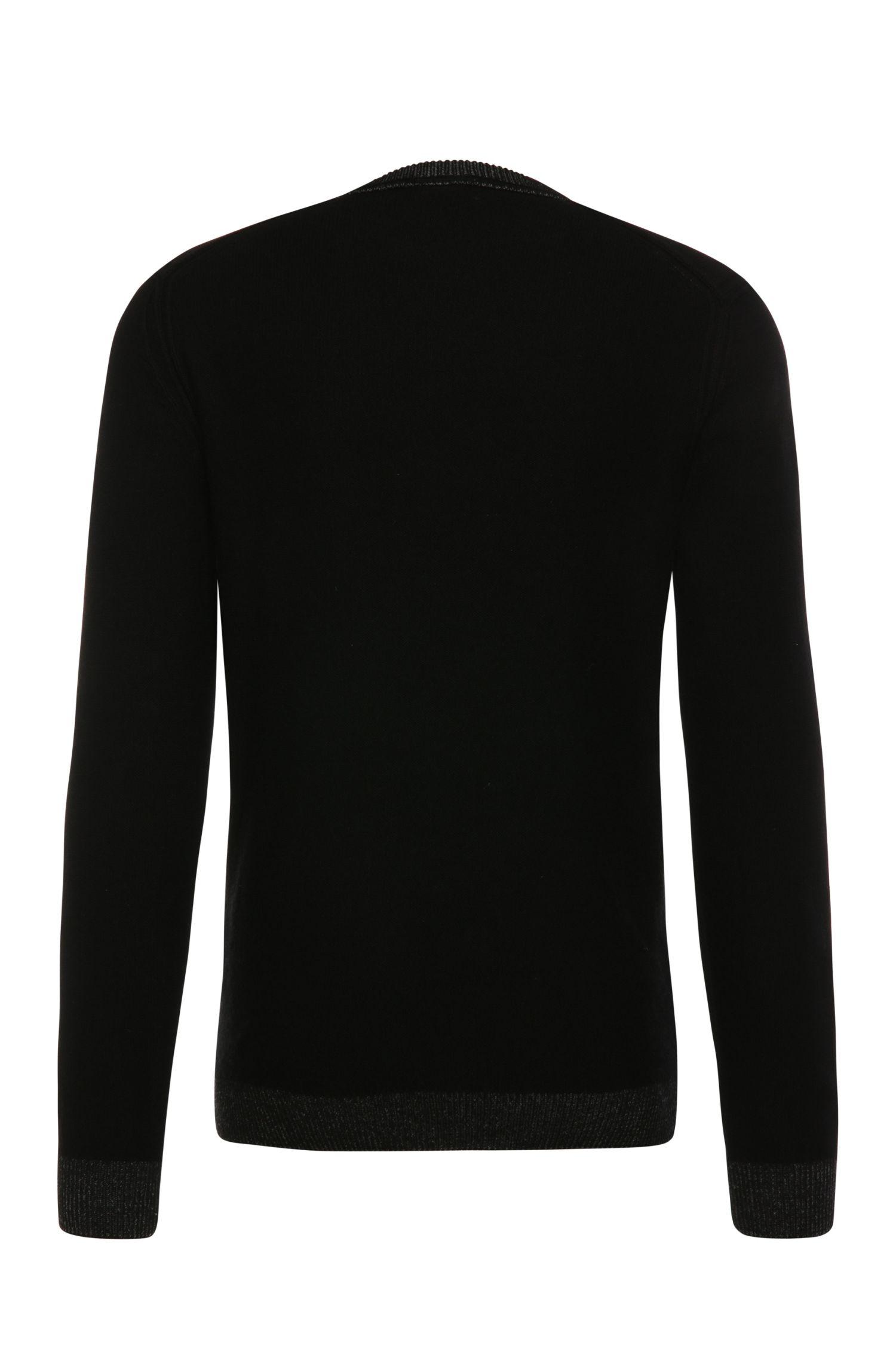 Slim-Fit Pullover aus Material-Mix mit Baumwolle und Wolle: ´Amindo`
