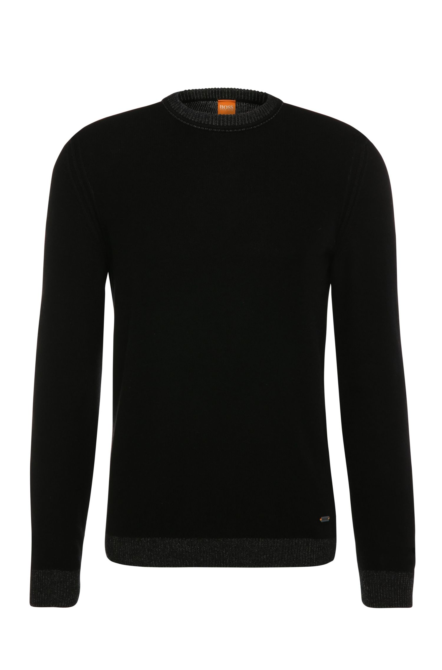 Slim-fit sweater in fabric blend with cotton and wool: 'Amindo'