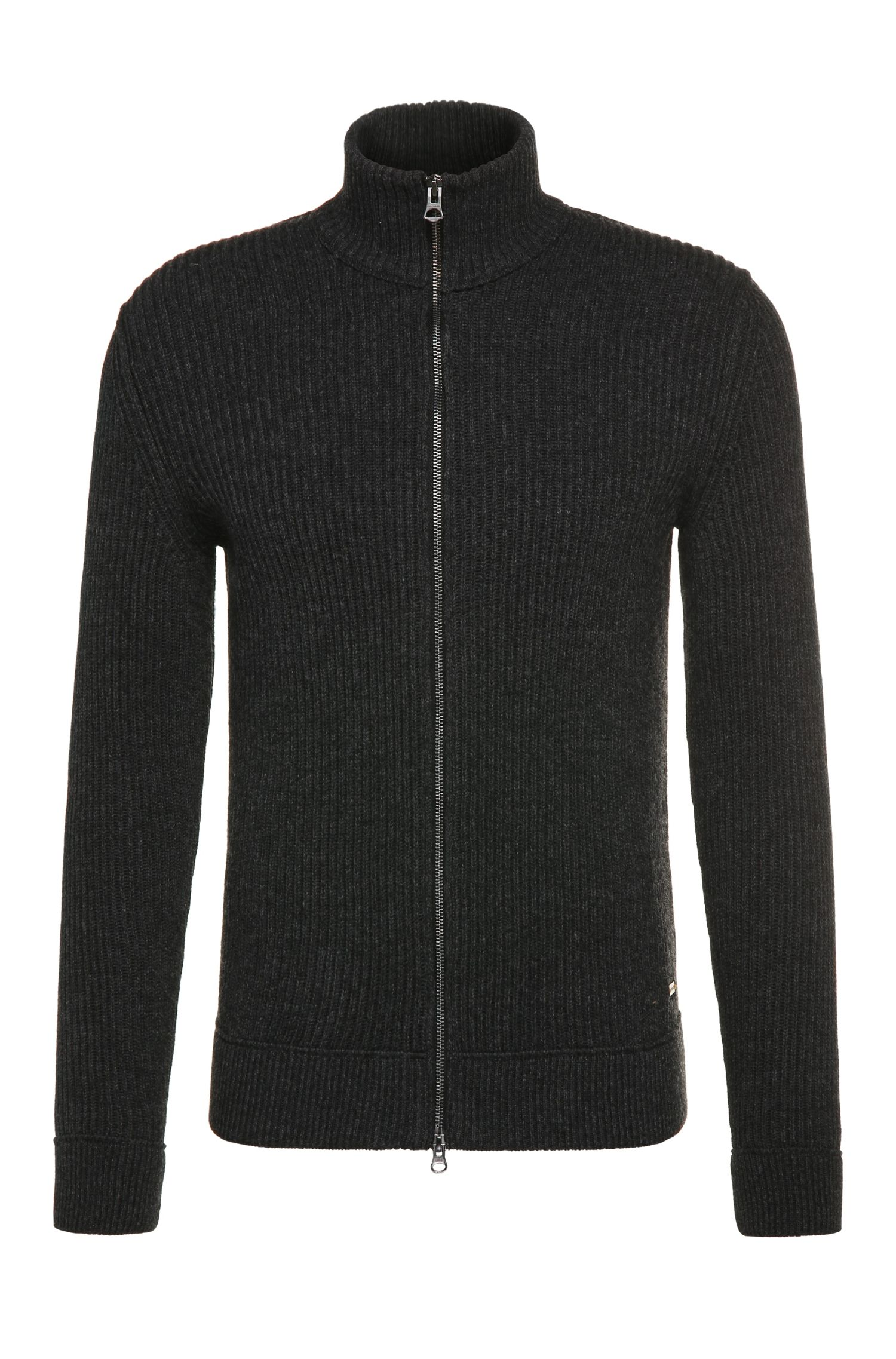 Slim-fit cardigan in cotton blend with wool: 'Kasnarem'