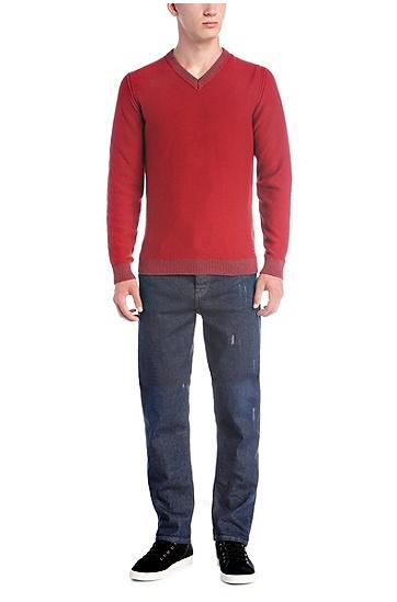 Slim-Fit Strickpullover aus Material-Mix mit Baumwolle und Wolle: ´Amindas`, Rot