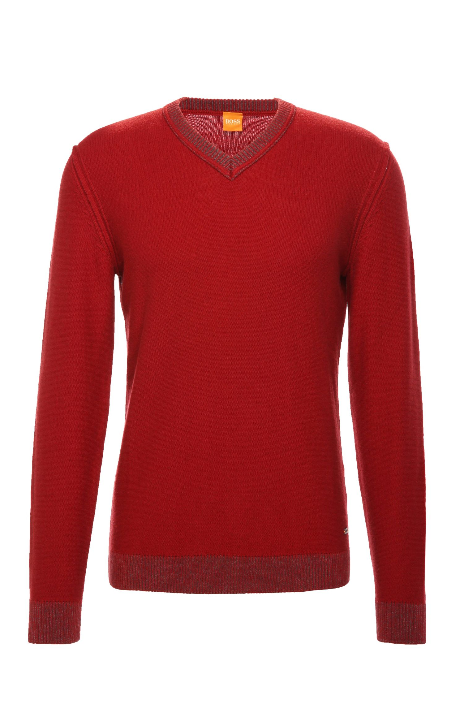 Slim-fit knit sweater in a fabric blend with cotton and wool: 'Amindas'