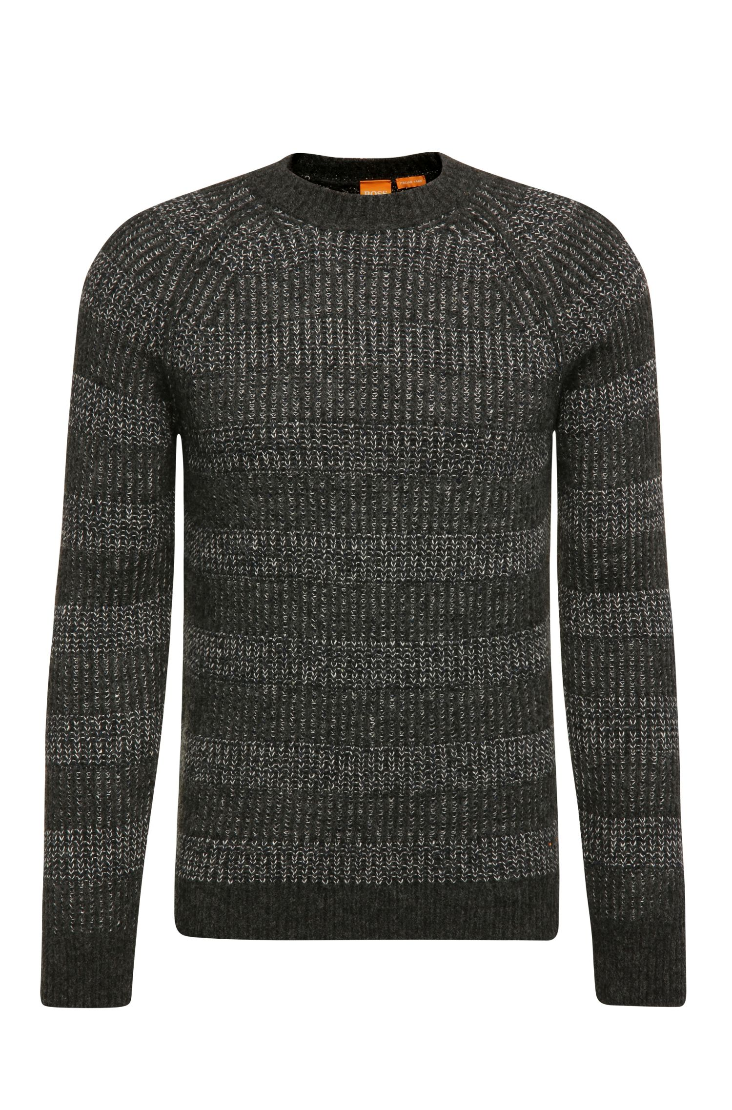 Striped knit sweater in fabric blend with wool, alpaca and silk: 'Karrow'