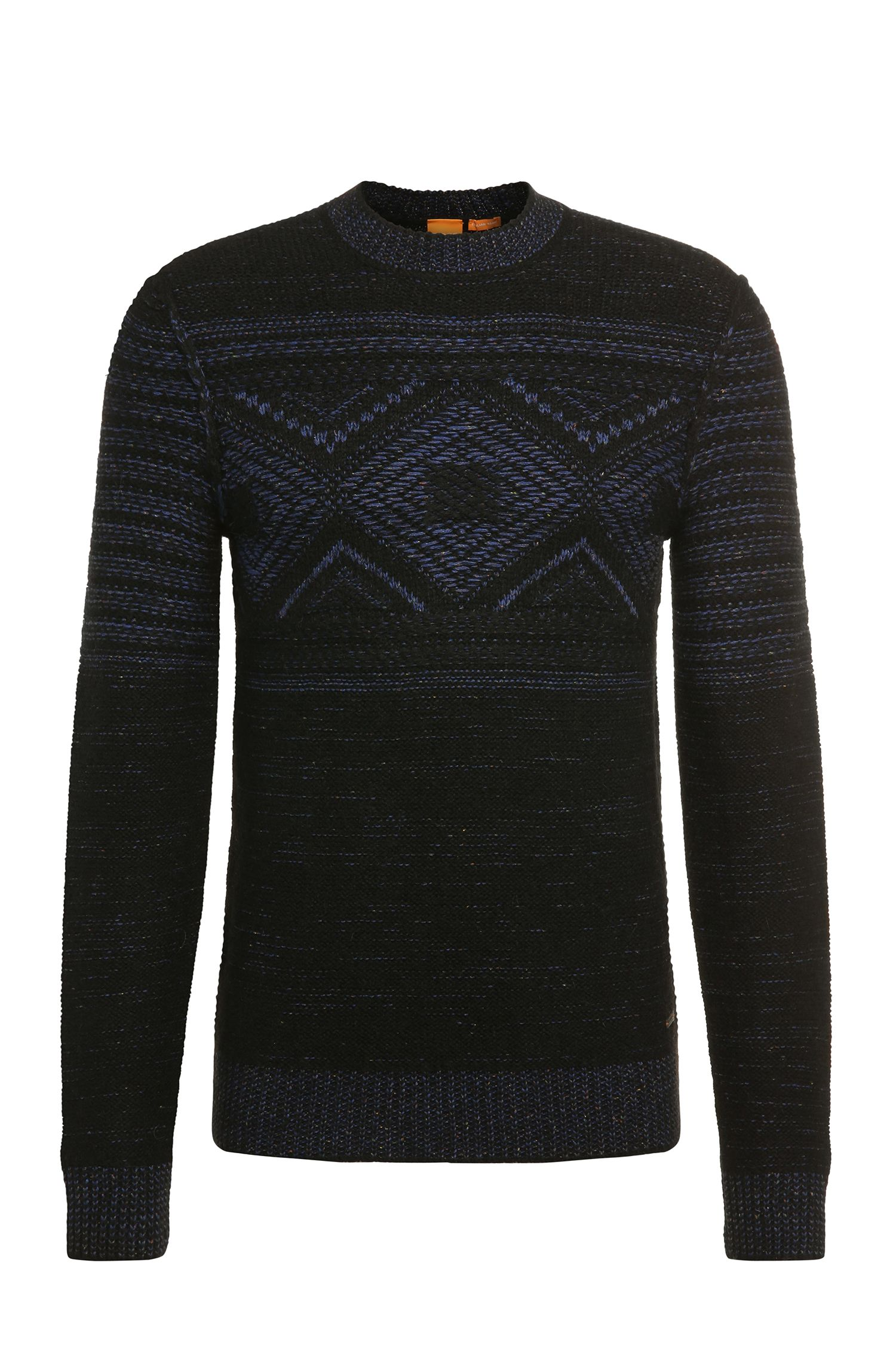 Slim-fit sweater in fabric blend with wool, alpaca, viscose and silk: 'Kordejan'