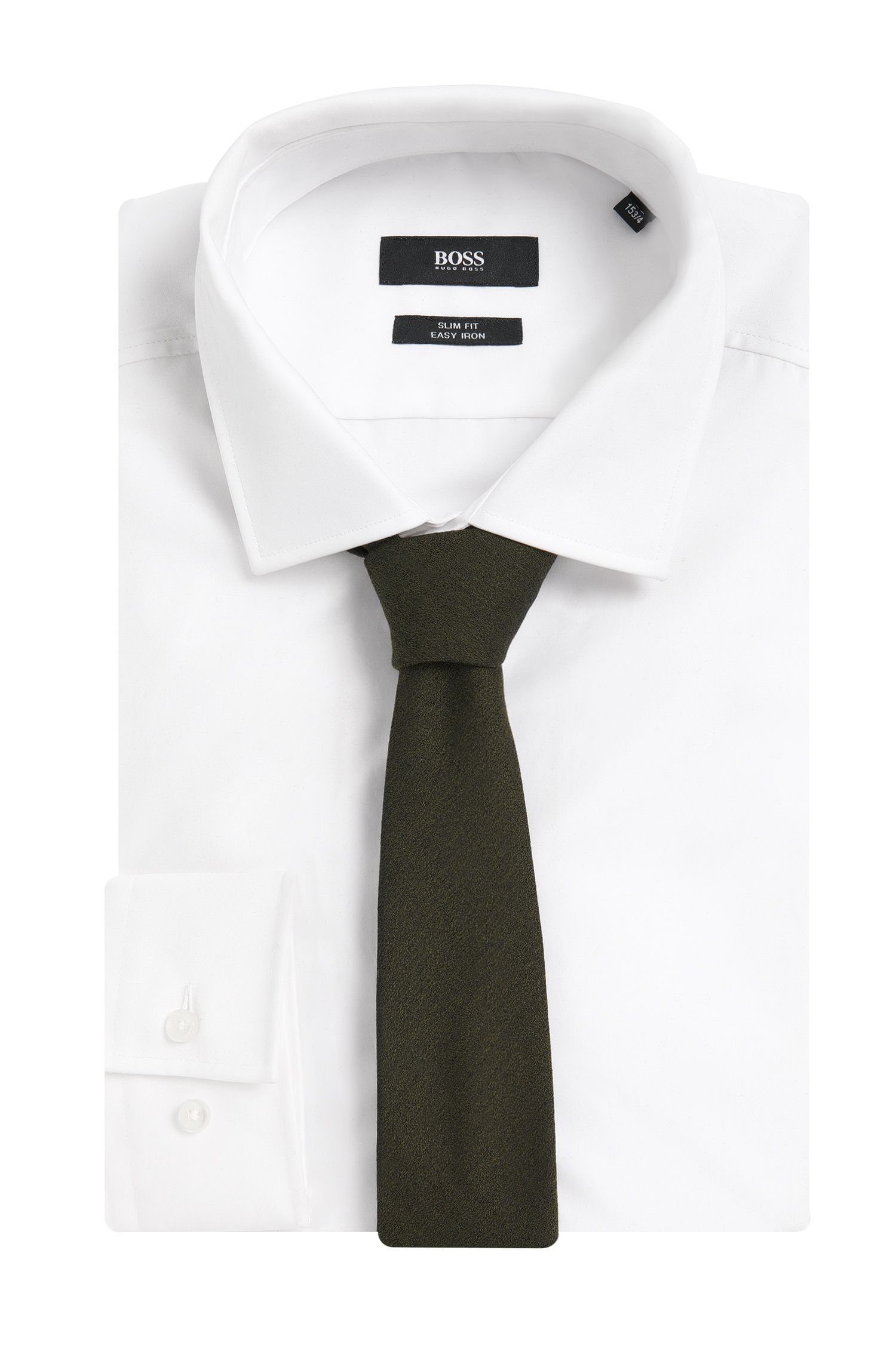 Effen stropdas uit de Tailored-collectie, van een wolmix met zijde: 'T-Tie 6 cm'