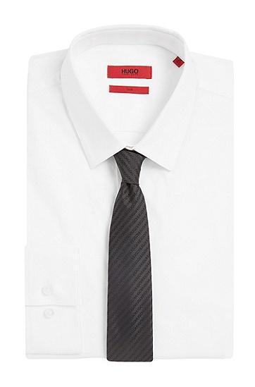 Seidenkrawatte mit Logo-Stickereien: 'Tie cm 6', Anthrazit