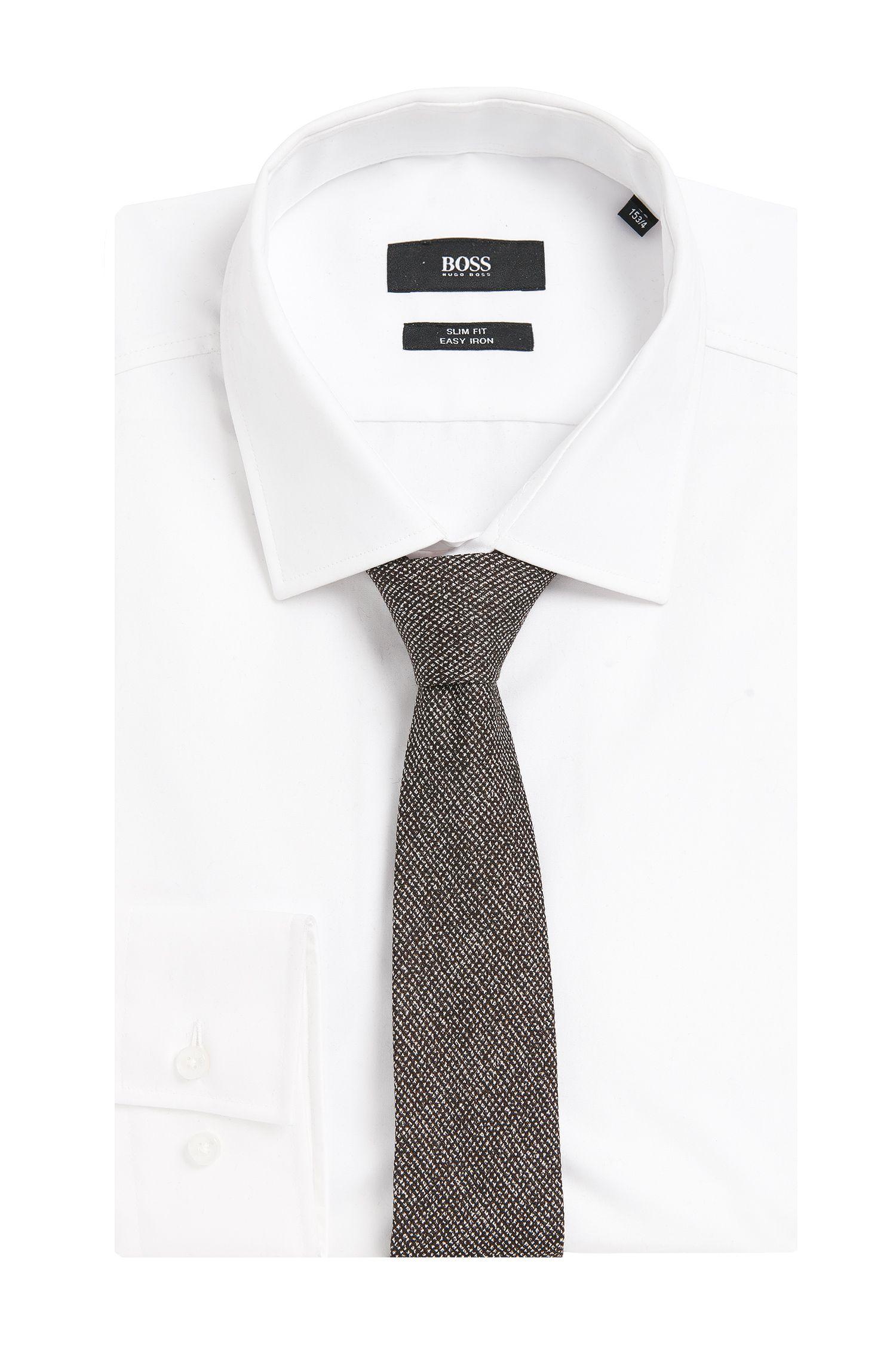Tailored Krawatte aus gemustertem Woll-Mix mit Seide: 'T-Tie 6 cm'