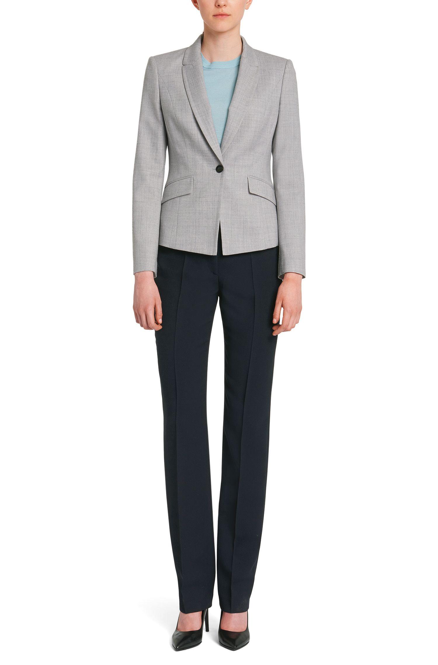 Gemêleerde blazer van scheerwol met stretch: 'Jobina'