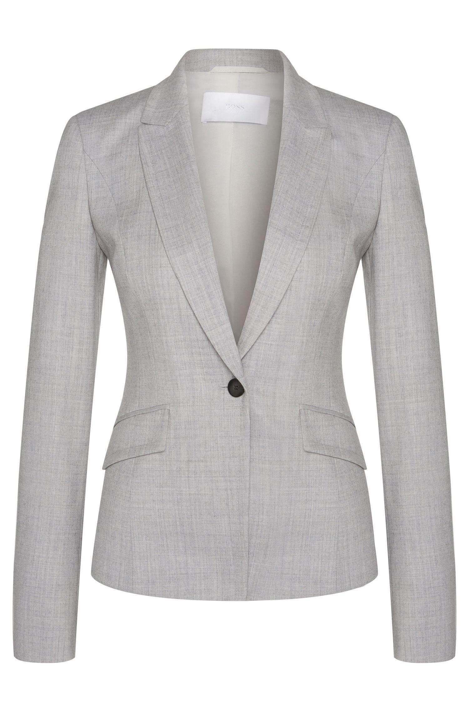Blazer chiné en laine vierge extensible: «Jobina»