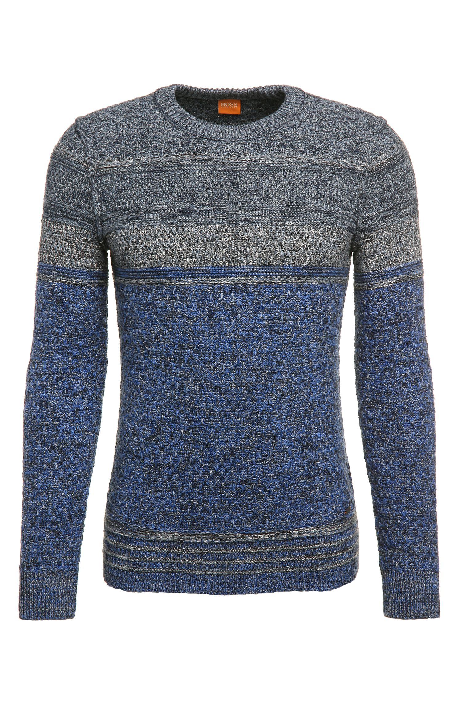 Slim-fit knit sweater in cotton blend with new wool: 'Agruade'