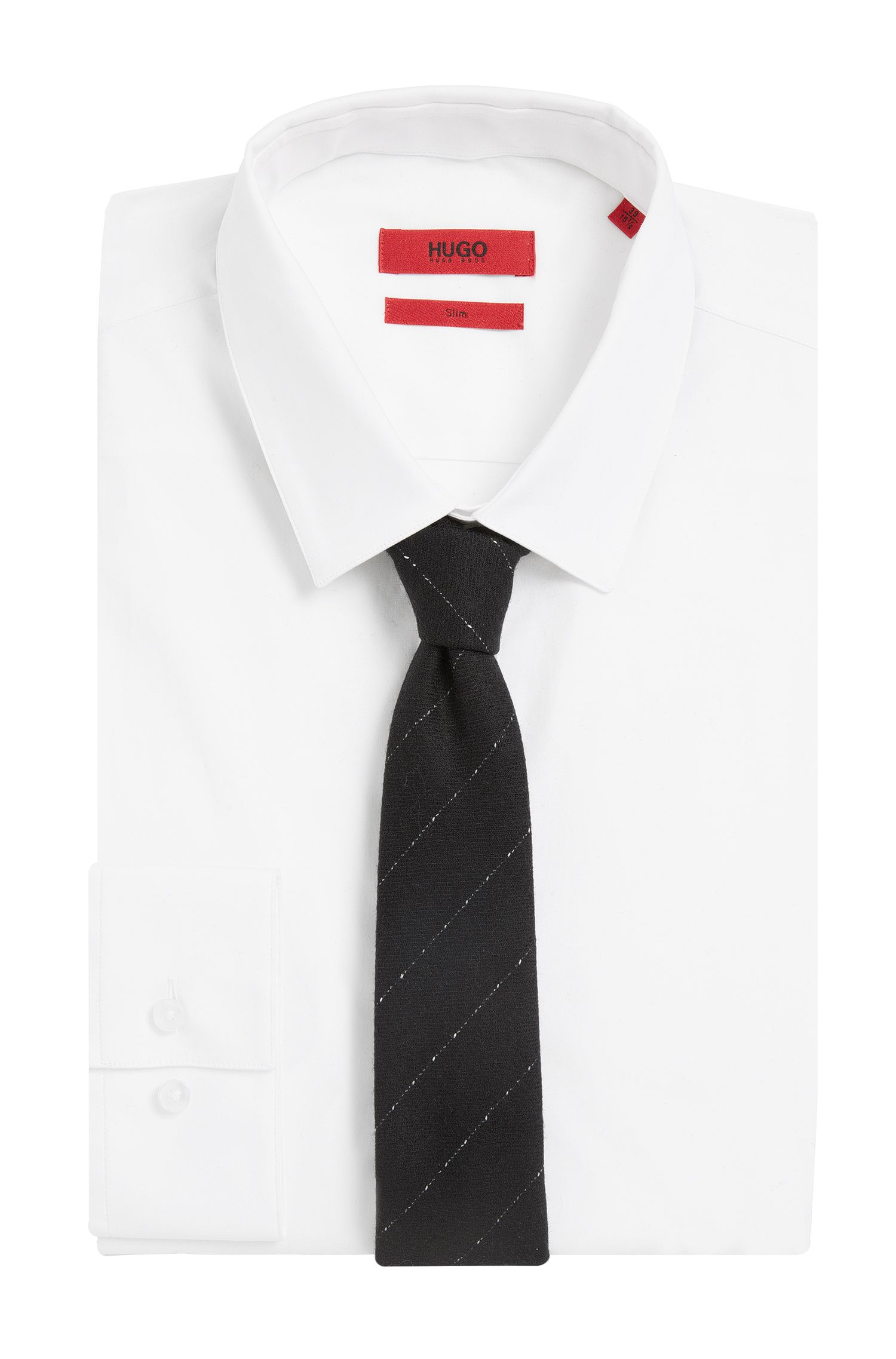 Krawatte aus Schurwolle mit diagonalem Streifenmuster: 'Tie cm 6'