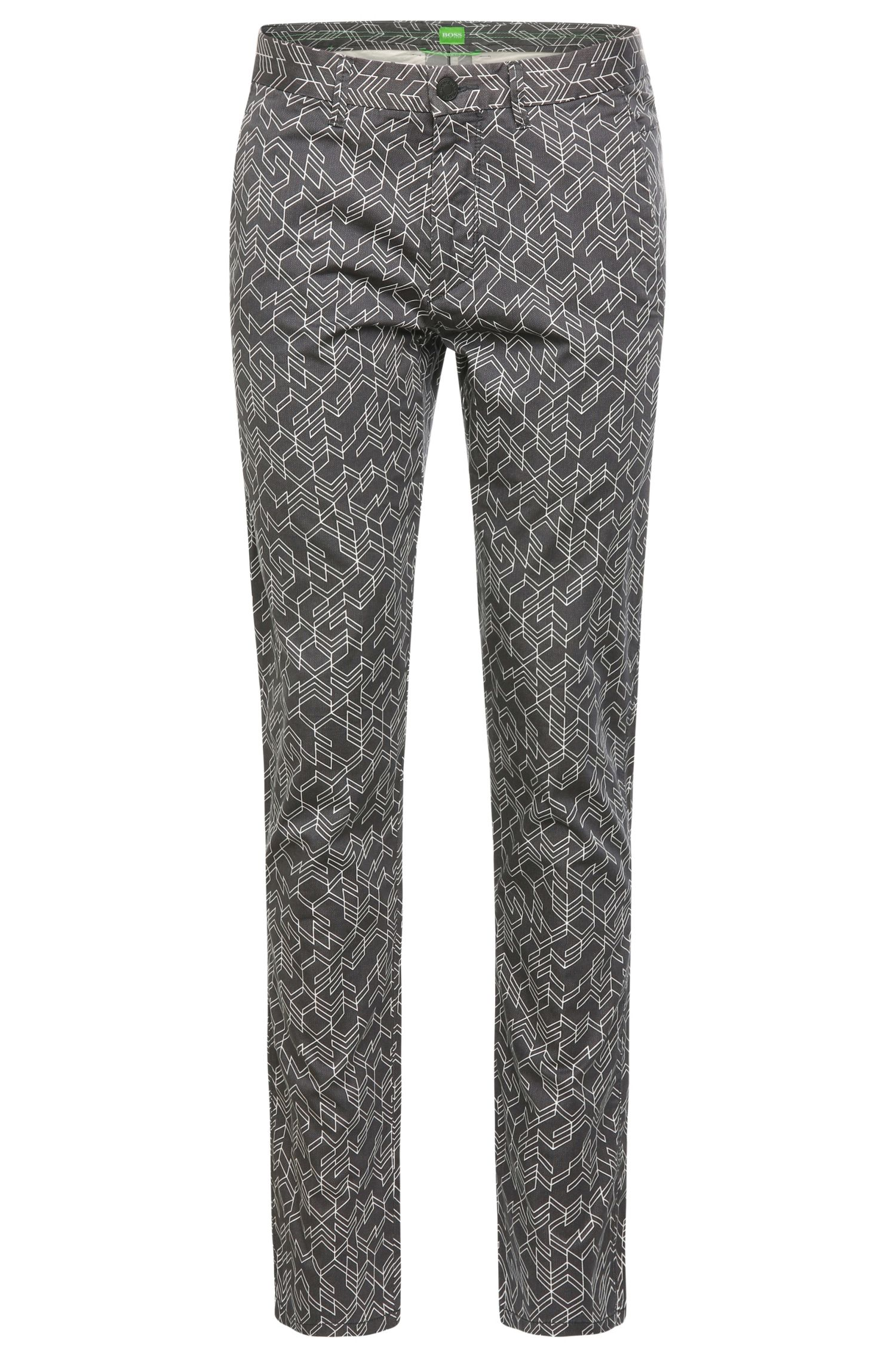Patterned slim-fit trousers in stretch cotton: 'Leeman3-3-W'