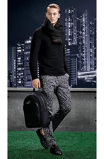 Gemusterte Slim-Fit Hose aus elastischer Baumwolle: ´Leeman3-3-W`, Schwarz