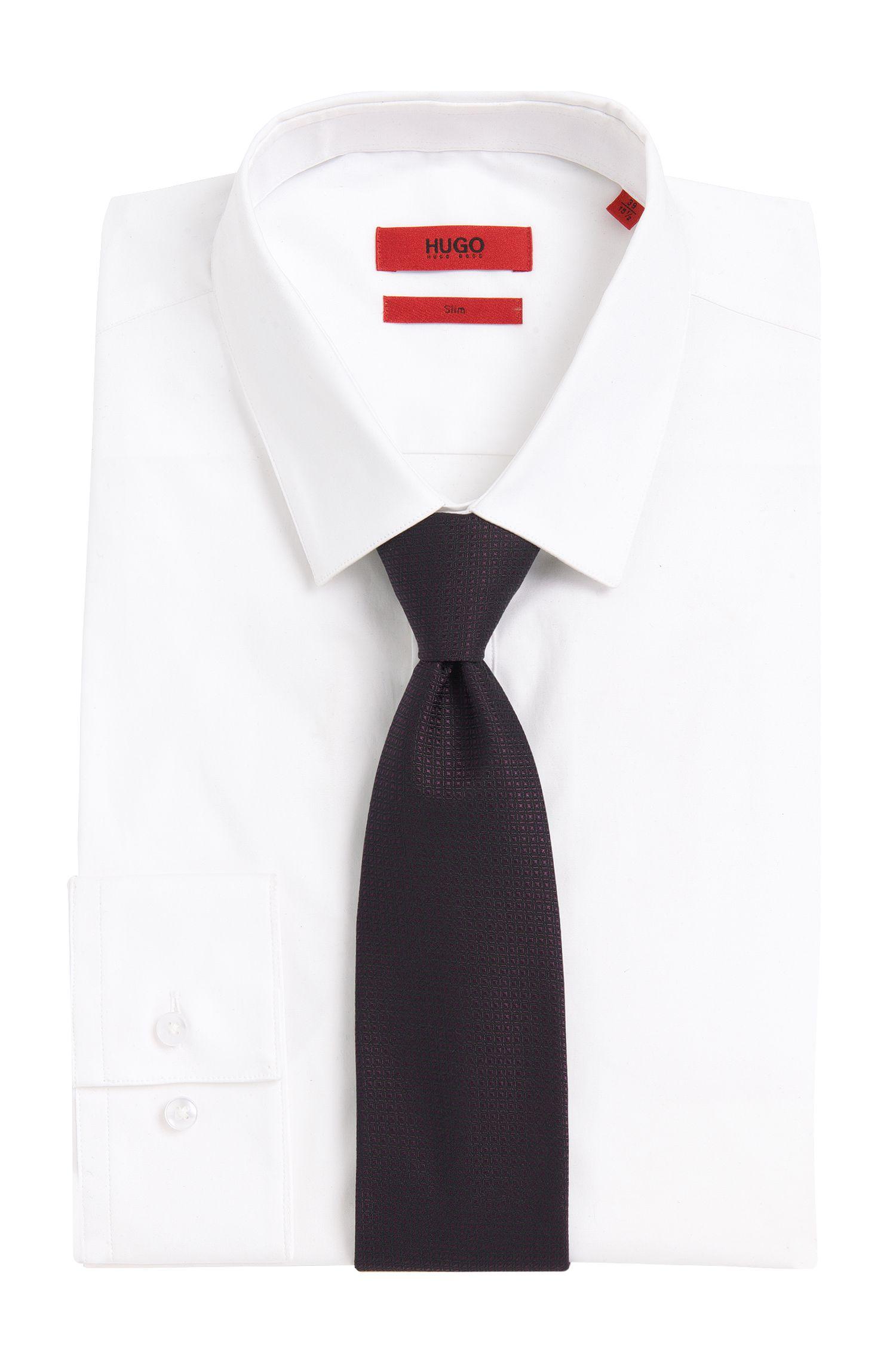 Unifarbene Krawatte mit eingewebtem Muster: 'Tie 7 cm'