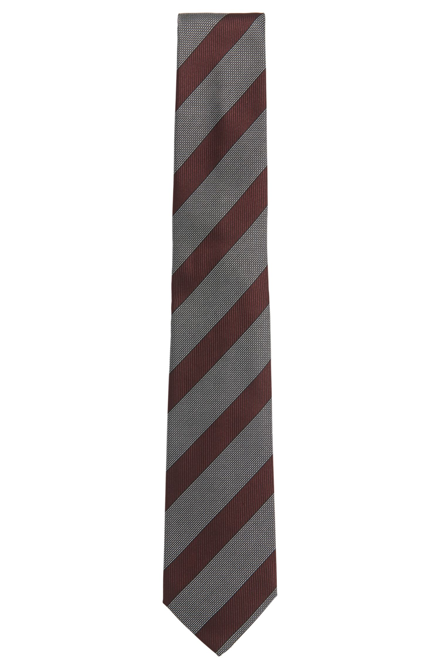 Gestreifte Tailored Seidenkrawatte: T-Tie 7,5 cm'
