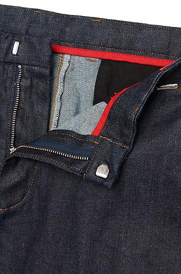 Tapered-Fit Jeans aus Baumwoll-Mix im Chino-Stil: 'Helgo1-W', Dunkelblau