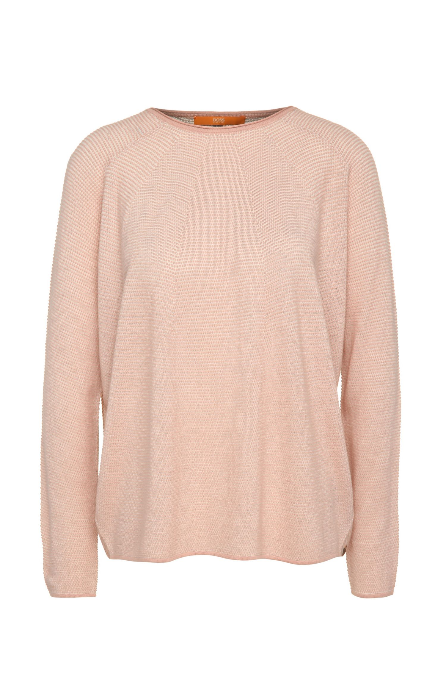 Relaxed-fit sweater in viscose blend with cotton, new wool and silk: 'Ilsetta'
